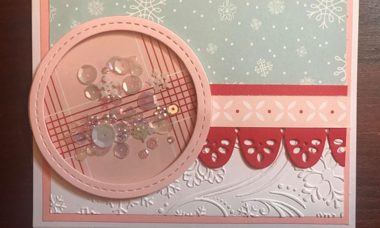 Holly Jolly pink and blue snowflake shaker card