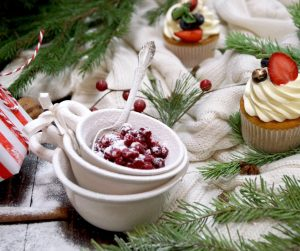 holiday table with cranberries